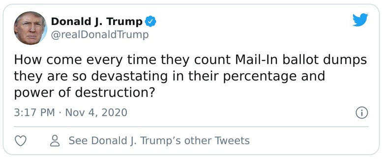 Trump tweet asking why mail-in ballots favored Biden